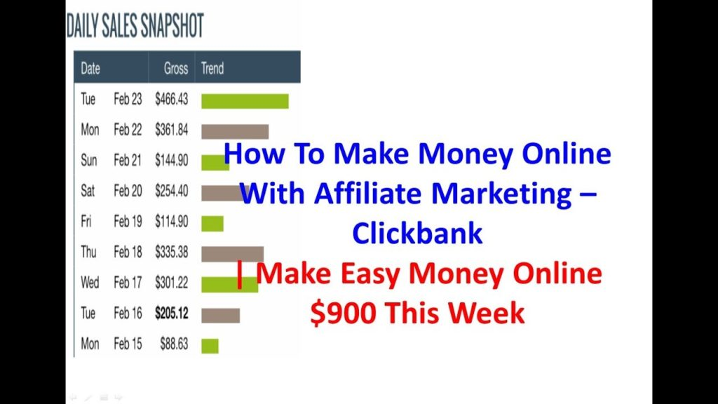 How To Make Money Online With Affiliate Marketing -Clickbank | Make Easy Money Online $900 This Week